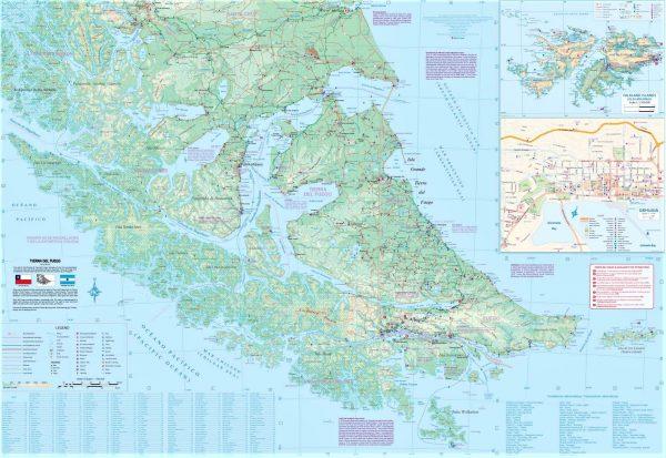 Patagonia & Tierra del Fuego landkaart / wegenkaart 1:750.000 / 2.000.000 9781771296137  ITM   Landkaarten en wegenkaarten Chili, Argentinië, Patagonië