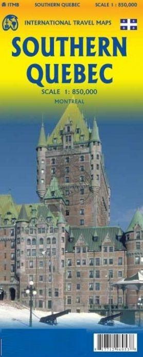 Southern Quebec | landkaart, autokaart 1:850.000 9781771296953  ITM   Landkaarten en wegenkaarten Canada ten oosten van de Rockies