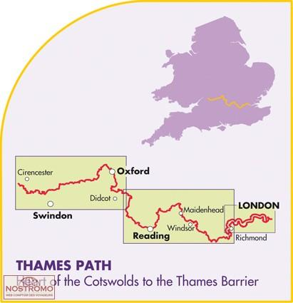 Thames Path National Trail Map | wandelkaart 1:60.000 9781851375127  Harvey Maps   Meerdaagse wandelroutes, Wandelkaarten Midlands, Cotswolds, Oxford