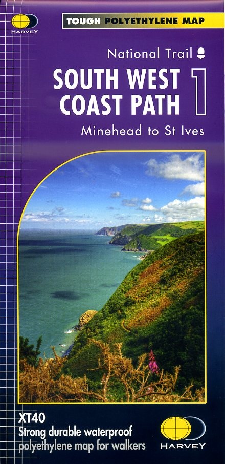 South West Coast Path (1) | wandelkaart 1:40.000 9781851375547  Harvey Maps   Meerdaagse wandelroutes, Wandelkaarten Zuidwest-Engeland, Cornwall, Devon, Somerset, Dorset