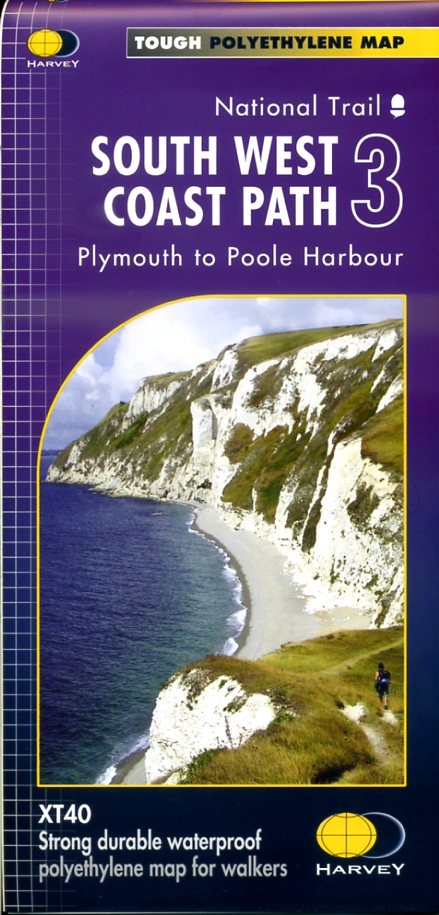 South West Coast Path (3) | wandelkaart 1:40.000 9781851375561  Harvey Maps   Meerdaagse wandelroutes, Wandelkaarten Zuidwest-Engeland, Cornwall, Devon, Somerset, Dorset