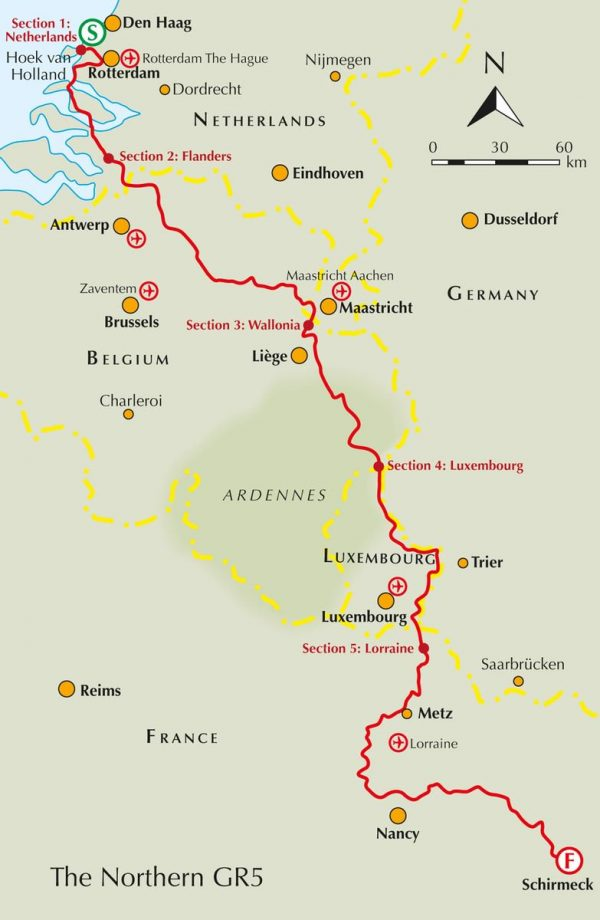 GR-5   Benelux and Lorraine 9781852849597  Cicerone Press   Meerdaagse wandelroutes, Wandelgidsen Benelux, Lotharingen, Nancy, Metz