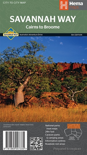 Savannah Way, Cairns to Broome 9781865007335  Hema Maps   Landkaarten en wegenkaarten Australië