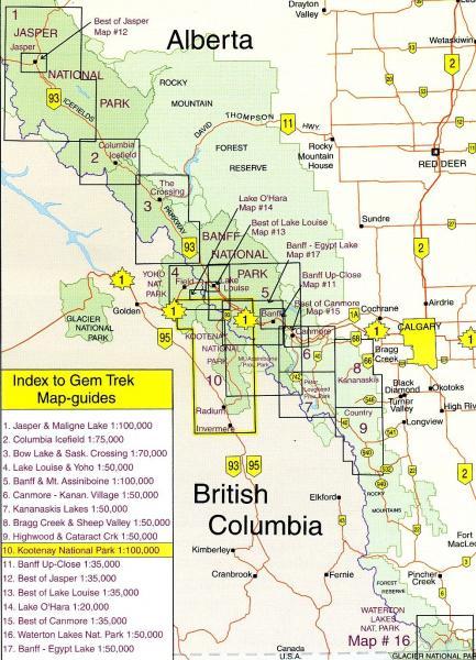 Kootenay NP  1:100.000 Explorer Map (10) 9781895526516  Gem Trek Publishing Wandelkaarten Canada  Wandelkaarten West-Canada, Rockies