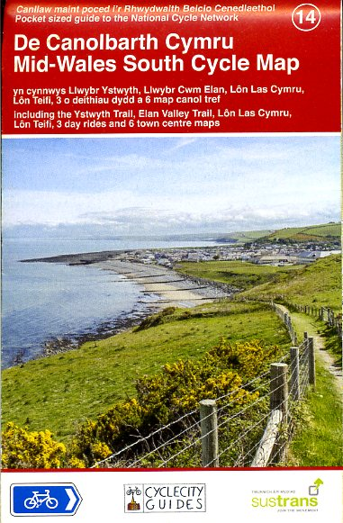 CCG14 Mid-Wales South Cycle Map 1:110.000 9781900623414  Cycle City Guides / Sustrans   Fietskaarten Zuid-Wales, Pembrokeshire, Brecon Beacons