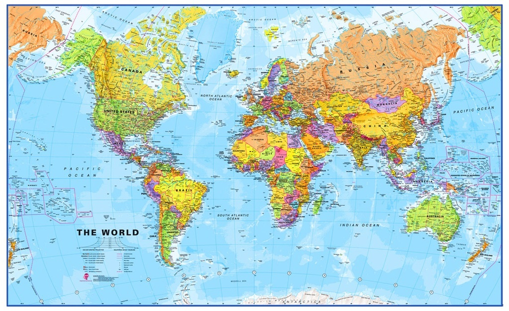 [29b] Staatkundige wereldkaart 1:30miljoen (136x86cm) 9781903030691  MAPS International   Wandkaarten Wereld als geheel