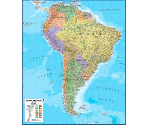 South-America Political 1:7.000.000 9781903030844  MAPS International   Wandkaarten Zuid-Amerika (en Antarctica)