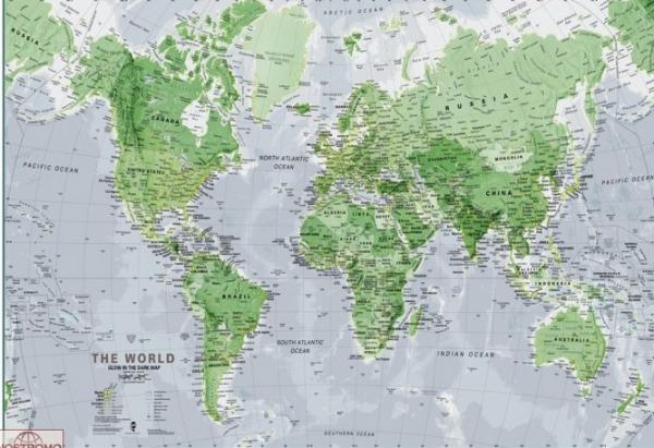 World Map Glow in the Dark 9781904892885  Diversen   Wandkaarten Wereld als geheel