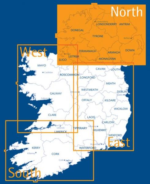OSHM-1  Ireland North | landkaart - wegenkaart Noord-Ierland 1:250.000 9781905306619  Ordnance Survey Ireland Irish Holiday Maps  Landkaarten en wegenkaarten Belfast, Ulster