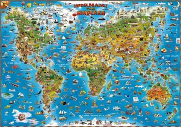 [28] Geïllustreerde Wereldkaart Dieren van de Wereld 9781905502356  Dino Children's Maps   Kinderboeken, Wandkaarten Wereld als geheel