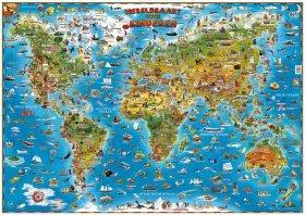 [28a] Wereldkaart voor kinderen met latjes 9781905502660  Dino Children's Maps   Kinderboeken, Wandkaarten Wereld als geheel