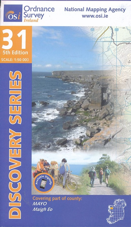 DM-31  Mayo, Central 9781908852755  Ordnance Survey Ireland Discovery Maps 1:50.000  Wandelkaarten Galway, Connemara, Donegal