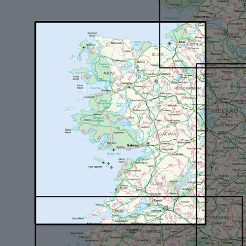 OSHM-2  Ireland West | landkaart - wegenkaart West-Ierland 1:250.000 9781908852878  Ordnance Survey Ireland Irish Holiday Maps  Landkaarten en wegenkaarten Galway, Connemara, Donegal