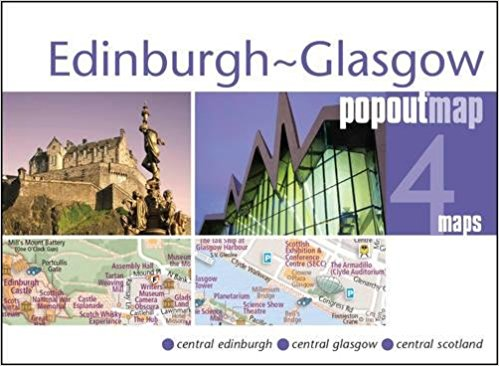 Glasgow + Edinburgh pop out map | stadsplattegrondje in zakformaat 9781910218365  Grantham Book Services PopOut Maps  Stadsplattegronden Edinburgh, Glasgow
