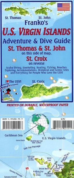 US Virgin Islands Map 1:62.000 9781931494526  Franko's Maps   Duik sportgidsen Overig Caribisch gebied