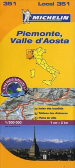 351 Piemonte, Valle d'Aosta | Michelin  wegenkaart, autokaart 1:200.000 9782067127135  Michelin Michelin Italië 1:200.000  Landkaarten en wegenkaarten Aosta, Gran Paradiso, Turijn, Piemonte