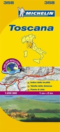358 Toscane | Michelin  wegenkaart, autokaart 1:200.000 9782067127203  Michelin Michelin Italië 1:200.000  Landkaarten en wegenkaarten Toscane, Florence