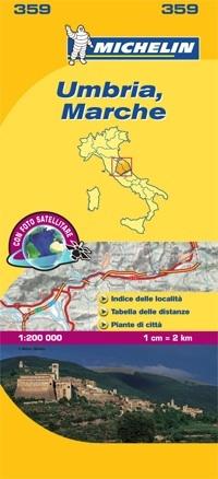 359 Umbria, Marche | Michelin  wegenkaart, autokaart 1:200.000 9782067127210  Michelin Michelin Italië 1:200.000  Landkaarten en wegenkaarten Umbrië