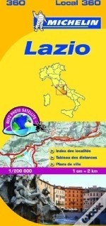 360 Lazio | Michelin  wegenkaart, autokaart 1:200.000 9782067127227  Michelin Michelin Italië 1:200.000  Landkaarten en wegenkaarten Rome, Lazio