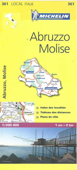 361 Abruzzo, Molise | Michelin  wegenkaart, autokaart 1:200.000 9782067127234  Michelin Michelin Italië 1:200.000  Landkaarten en wegenkaarten Abruzzen en Molise