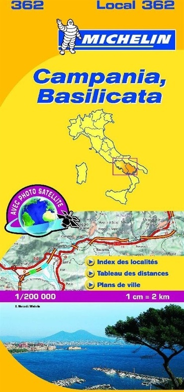 362 Campania, Basilicata | Michelin  wegenkaart, autokaart 1:200.000 9782067127241  Michelin Michelin Italië 1:200.000  Landkaarten en wegenkaarten Basilicata, Napels, Amalfi, Campanië