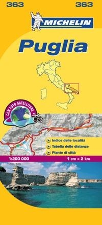 363 Puglia | Michelin  wegenkaart, autokaart 1:200.000 9782067127258  Michelin Michelin Italië 1:200.000  Landkaarten en wegenkaarten Apulië
