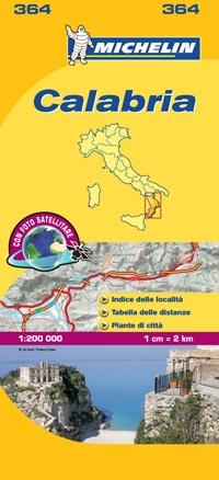 364 Calabria | Michelin  wegenkaart, autokaart 1:200.000 9782067127265  Michelin Michelin Italië 1:200.000  Landkaarten en wegenkaarten Calabrië