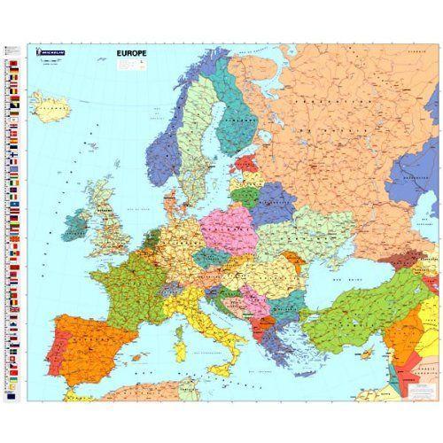 Europa 1:4.000.000, plano, geplastificeerd 9782067142916  Michelin   Wandkaarten Europa