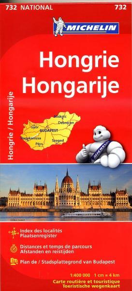 732  Hongarije | Michelin  wegenkaart, autokaart 1:400.000 9782067171886  Michelin   Landkaarten en wegenkaarten Hongarije