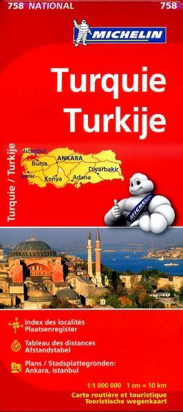 758  Turkije 1:1.000.000 9782067173149  Michelin   Landkaarten en wegenkaarten Turkije
