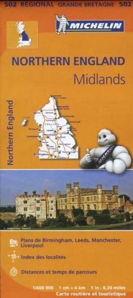 502 Engeland, Noord-/ Midlands | Michelin  wegenkaart, autokaart 1:400.000 9782067183230  Michelin   Landkaarten en wegenkaarten Northumberland, Yorkshire Dales & Moors, Peak District, Isle of Man