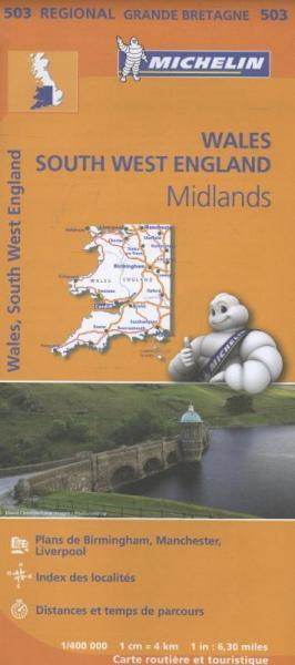 503 Wales- West Engl, met register 1:400.000 9782067183285  Michelin   Landkaarten en wegenkaarten Wales