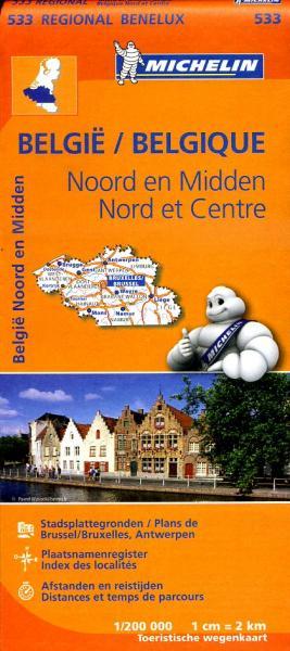 533  Belgie, Noord en Midden | Michelin  wegenkaart, autokaart 1:200.000 9782067183445  Michelin   Landkaarten en wegenkaarten België & Luxemburg