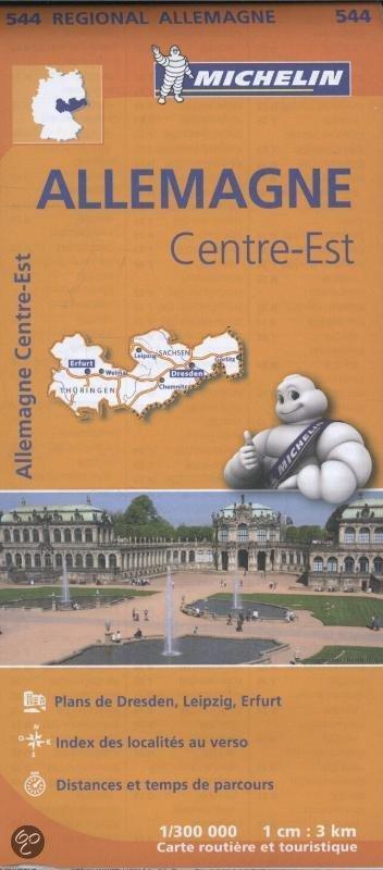 544 Thüringen/Sachsen | Michelin  wegenkaart, autokaart 1:300.000 9782067183612  Michelin Mich. Region. Krtn. Dtsl.  Landkaarten en wegenkaarten Sachsen, Thüringen, Weimar, Rennsteig