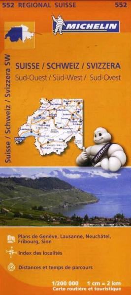 552  Suisse Sud-Ouest | Michelin  wegenkaart, autokaart 1:200.000 9782067183735  Michelin   Landkaarten en wegenkaarten Zwitserland