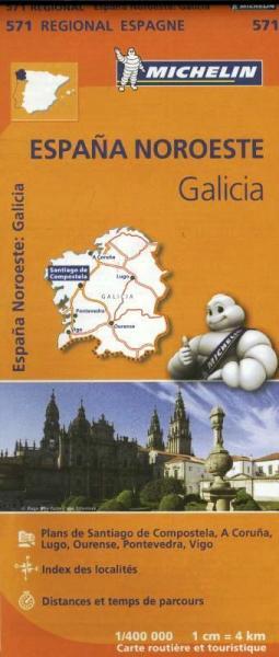 571  Galicia | Michelin  wegenkaart, autokaart 1:400.000 9782067184077  Michelin Michelin Spanje Regionaal  Landkaarten en wegenkaarten Noordwest-Spanje