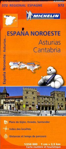 572  Asturias/Cantabria | Michelin  wegenkaart, autokaart 1:250.000 9782067184121  Michelin Michelin Spanje Regionaal  Landkaarten en wegenkaarten Noordwest-Spanje