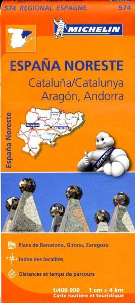 574 Aragon/ Cataluña | Michelin  wegenkaart, autokaart 1:400.000 9782067184220  Michelin Michelin Spanje Regionaal  Landkaarten en wegenkaarten Catalonië