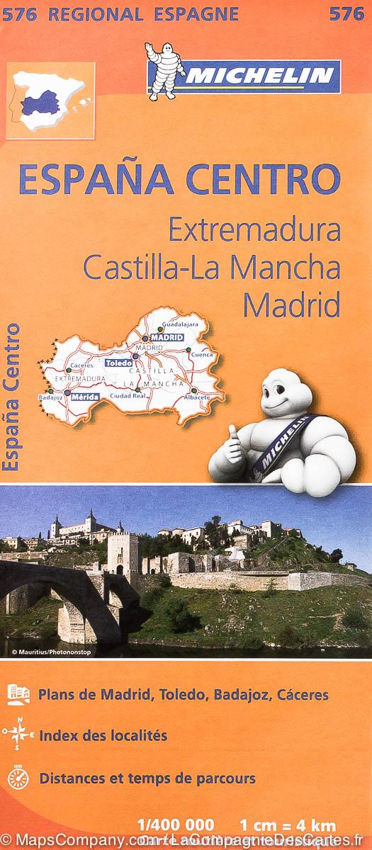 576 Extremadura/Castilla/Madrid | Michelin  wegenkaart, autokaart 1:400.000 9782067184329  Michelin Michelin Spanje Regionaal  Landkaarten en wegenkaarten Midden-Spanje