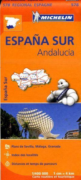 578 Andalucia | Michelin  wegenkaart, autokaart 1:400.000 9782067184428  Michelin Michelin Spanje Regionaal  Landkaarten en wegenkaarten Andalusië