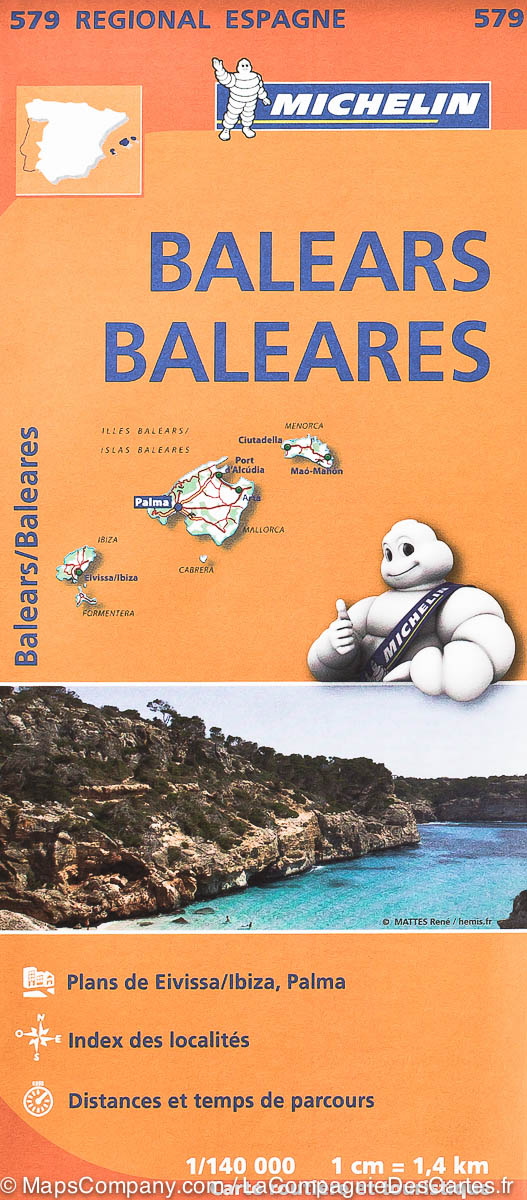 579  Baleares 1:140.000 9782067184473  Michelin Michelin Spanje Regionaal  Landkaarten en wegenkaarten Balearen