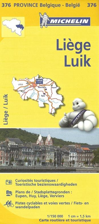 376 Luik/Liège provinciekaart 9782067185333  Michelin België 1:150.000  Landkaarten en wegenkaarten Wallonië (Ardennen)