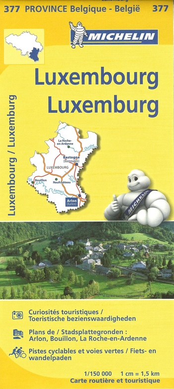 377 Luxembourg, province de 9782067185340  Michelin België 1:150.000  Landkaarten en wegenkaarten Wallonië (Ardennen)