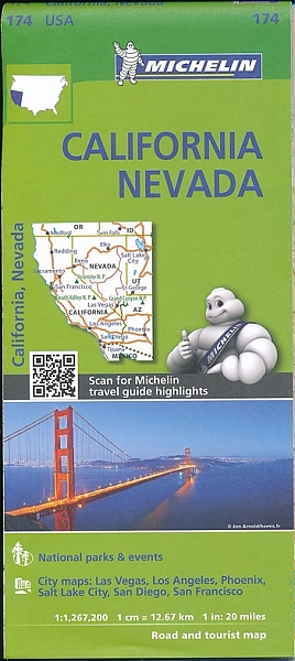 174  California & Nevada 1:1.267.200 9782067190528  Michelin Michelinkaarten USA  Landkaarten en wegenkaarten California, Nevada