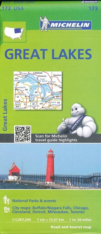 173 Great Lakes 1:1.267.200 9782067190856  Michelin Michelinkaarten USA  Landkaarten en wegenkaarten Grote Meren, Chicago, Centrale VS –Noord