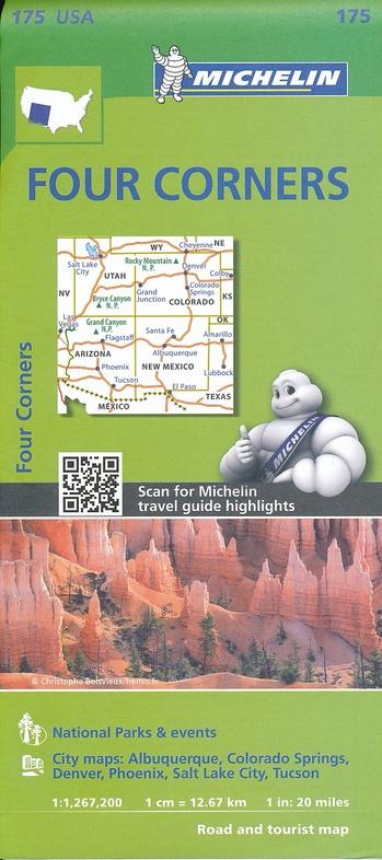 175  Four Corners 1:1.267.200 9782067190894  Michelin Michelinkaarten USA  Landkaarten en wegenkaarten Colorado, Arizona, Utah, New Mexico