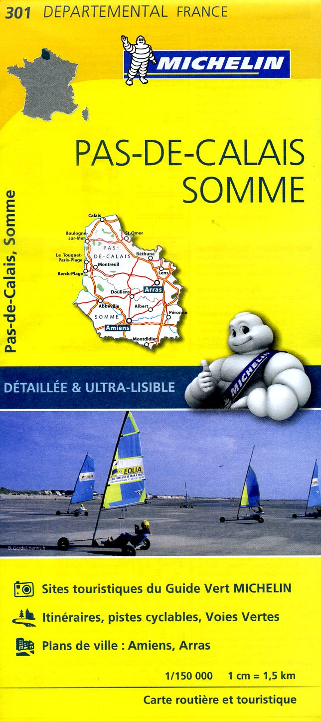 301  Pas-de-Calais, Somme | wegenkaart, fietskaart 1:150.000 9782067202023  Michelin Local / Departementskaarten  Landkaarten en wegenkaarten Picardie, Nord