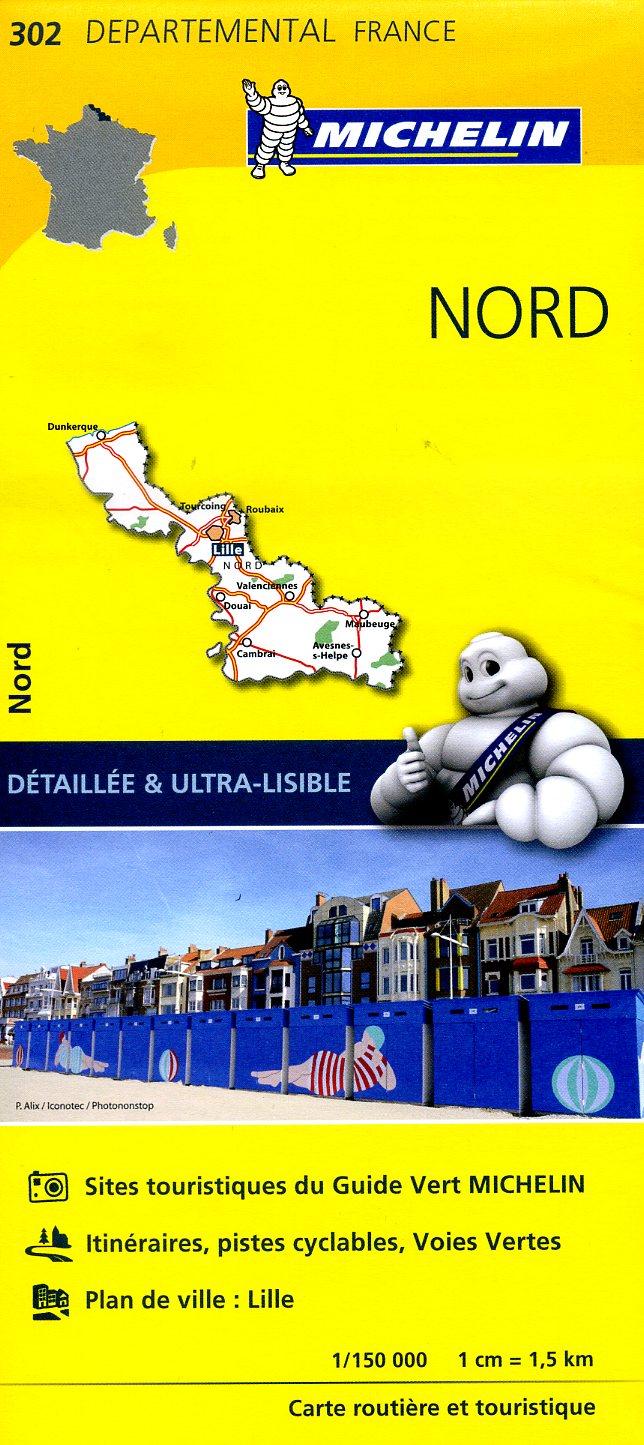 302  Nord | wegenkaart, fietskaart 1:150.000 9782067202030  Michelin Local / Departementskaarten  Landkaarten en wegenkaarten Picardie, Nord