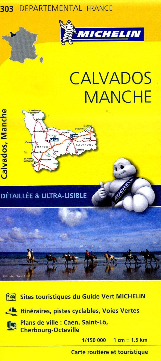 303  Calvados, Manche | wegenkaart, fietskaart 1:150.000 9782067202047  Michelin Local / Departementskaarten  Landkaarten en wegenkaarten Normandië