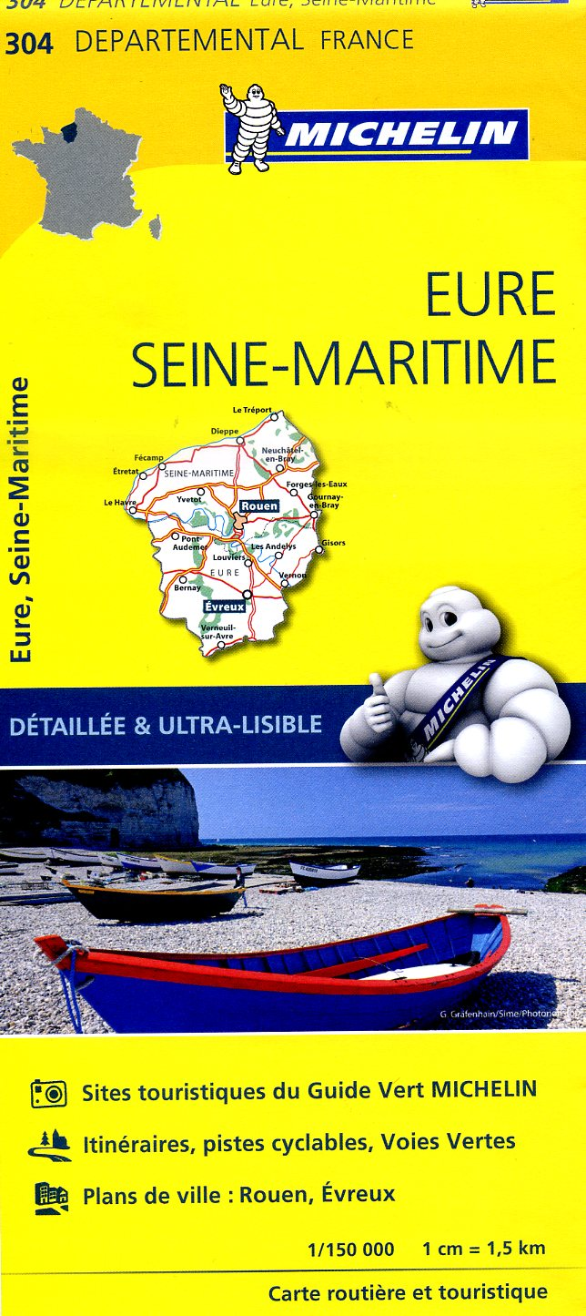 304  Eure, Seine-Maritime | wegenkaart, fietskaart 1:150.000 9782067202054  Michelin Local / Departementskaarten  Landkaarten en wegenkaarten Normandië